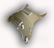 Prewired Strat Pickguard HH, Chrome Mirror