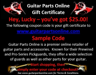 Gift Certificate, Choice of Amount, www.guitarpartsonline.com