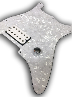 Prewired EVH Strat Pickguard, One Humbucker, White Pearl
