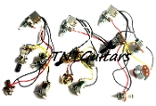 2V1T Prewired Harness, 2 Pickup Standard, 2Vol+1Tone 3Way Switch Toggle